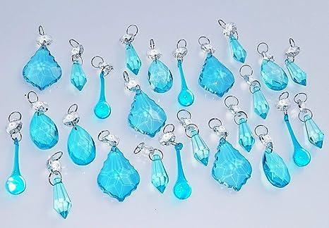 10 CHANDELIER CUT GLASS LIGHT PARTS CRYSTALS DROPS ART DECO AQUA OVAL DROPLETS