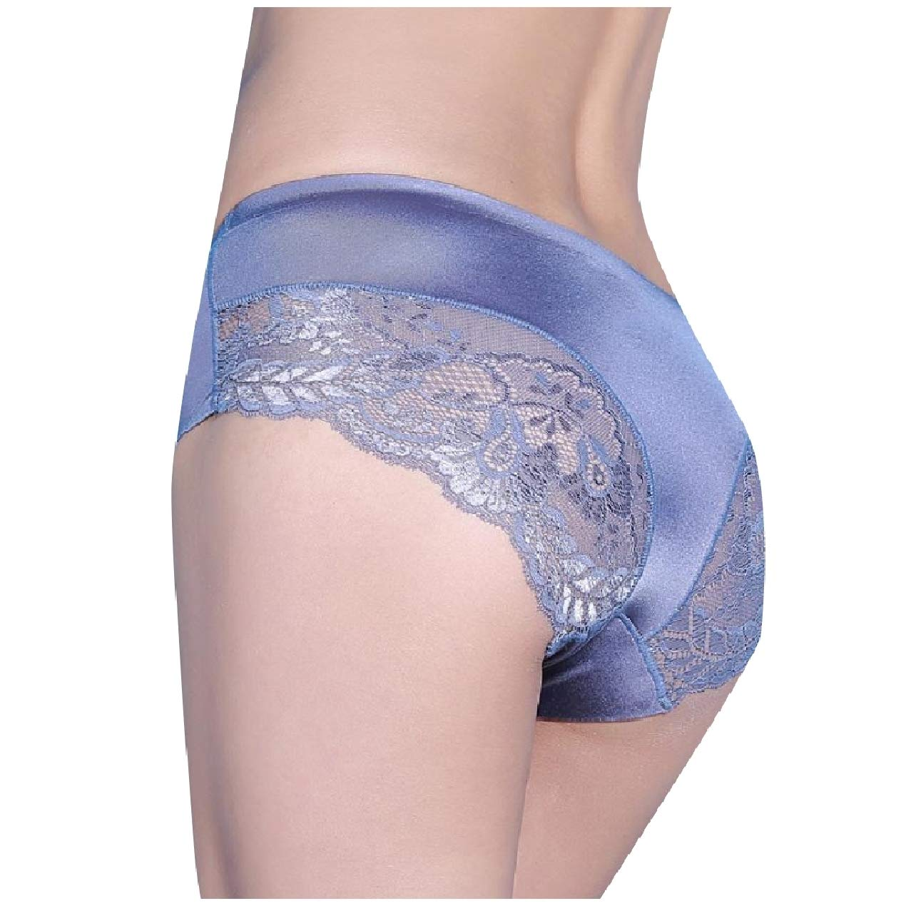 Winme Women's 3-Pack Satin Cotton Crotch Lace Bikini Briefs Panties
