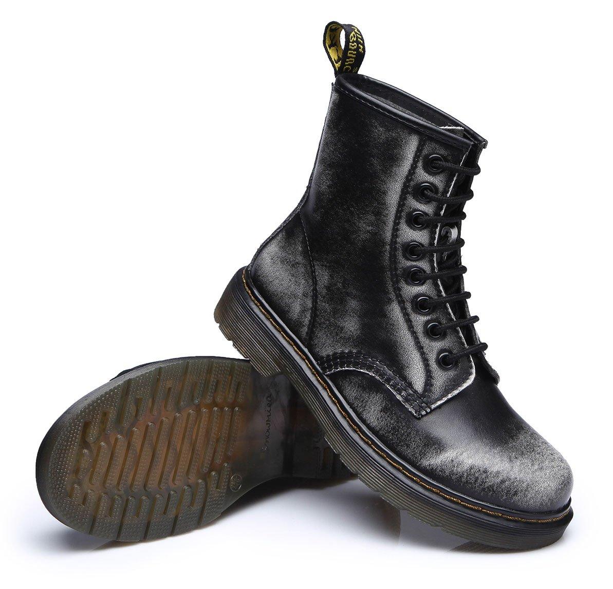 UBeauty Damen Martin Freizeitschuhe Stiefel Flache Stiefel Klassischer Stiefeletten Schnüren Freizeitschuhe Martin Grau Samt 37528c