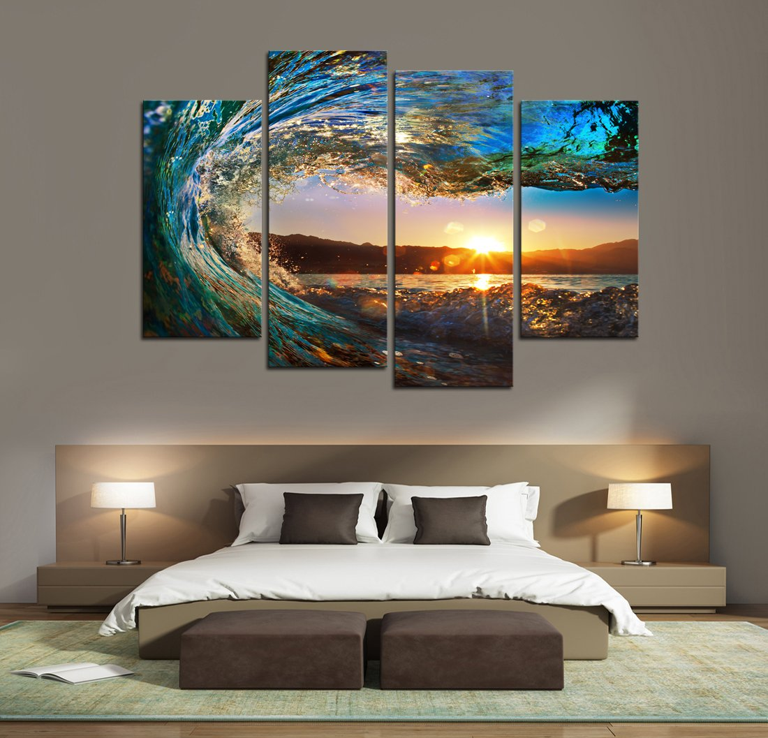 Cao Gen Decor Art-S70448 4 panels Wall Art Waves Painting on Canvas Stretched and Framed Canvas Paintings Ready to Hang for Home Decorations Wall Decor