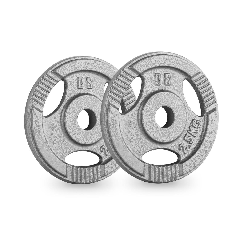 CAPITAL SPORTS IP3H 2.5 Pareja de discos para mancuerna gimnasio (par 30mm 2,5 kg cada uno, terminación hierro fundido, entrenar fuerza, pesas, ...