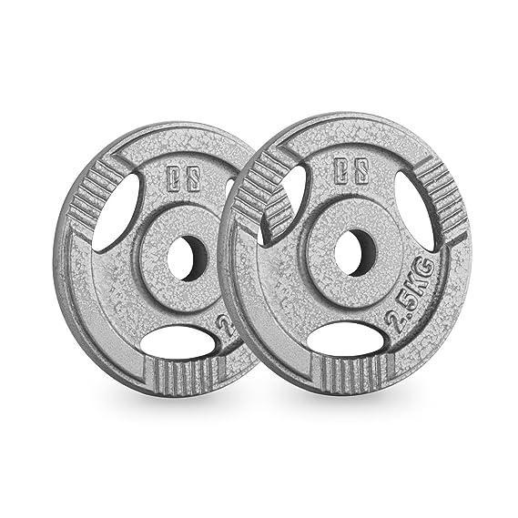 ... IP3H 2.5 Pareja de discos para mancuerna gimnasio (par 30mm 2,5 kg cada uno, terminación hierro fundido, entrenar fuerza, pesas, barras largas y cortas, ...