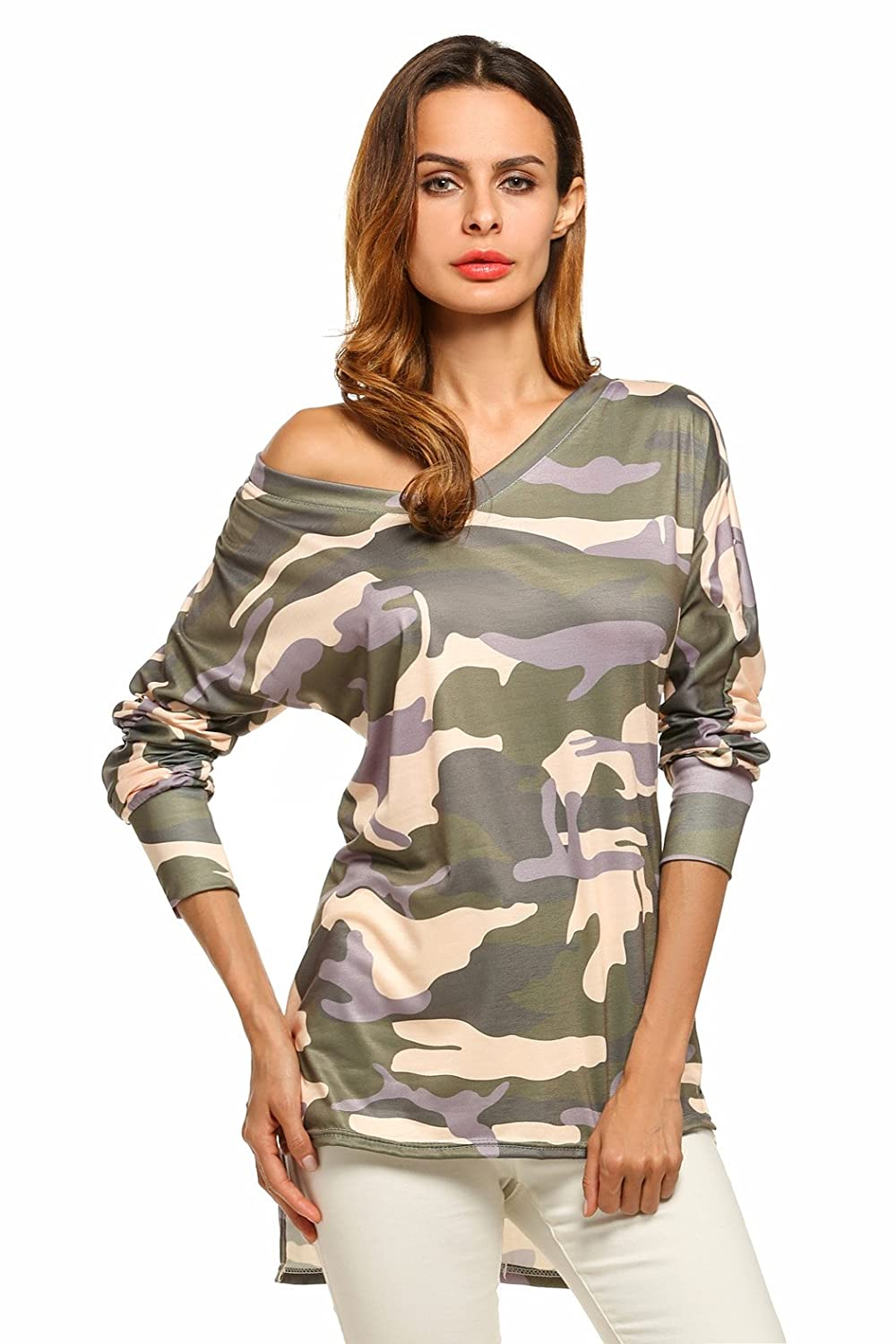 Women Casual Camouflage Long Sleeve V-Neck Long T-Shirts High Low Blouses Tops