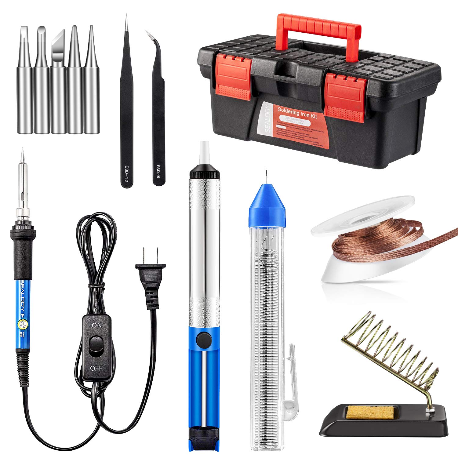 Soldering Iron Kit Including 60w Temperature Control Copper Braid For Removing Solder From Printed Circuit Boards With On Off Switch Tips Sucker Desoldering Wick Wire