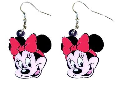 f529ffd9f3eb Minnie y Mickey Mouse Dangle Pendientes de gota por pashal  Amazon.es   Joyería