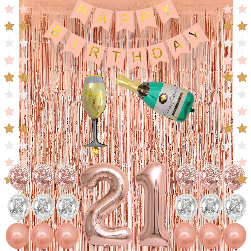 Rose Gold 21 Birthday Party Decorations Supplies Champagne Balloon Pink Happy Birthday Banner 21 Balloons Rose Gold Foil Fringe Curtains Confetti