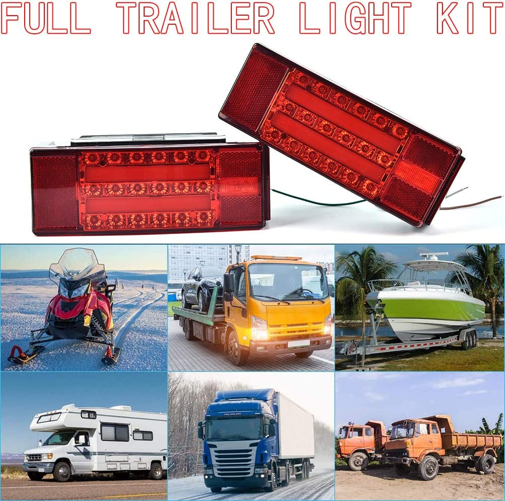Submersible Trailer Tail License Light Kit Plug for Camper Truck Trailer RV Boat Lighting Waterproof Snowmobile Lights Under 80 Inch DOT Compliance Lights CHEN HAO LED Stop Turn Tail Light
