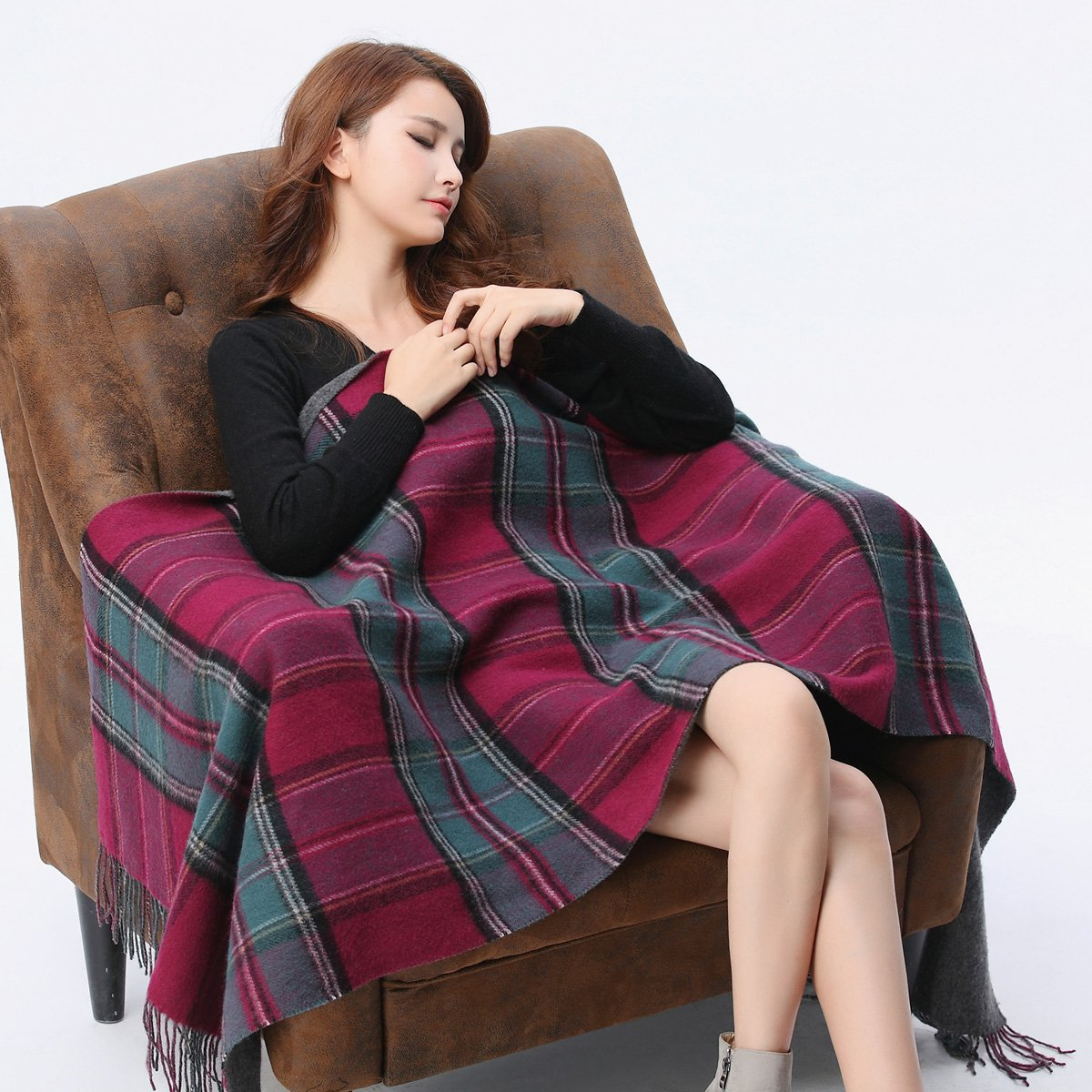 Ladies' double sided woolen scarf and scarf for super thickening winter and Autumn