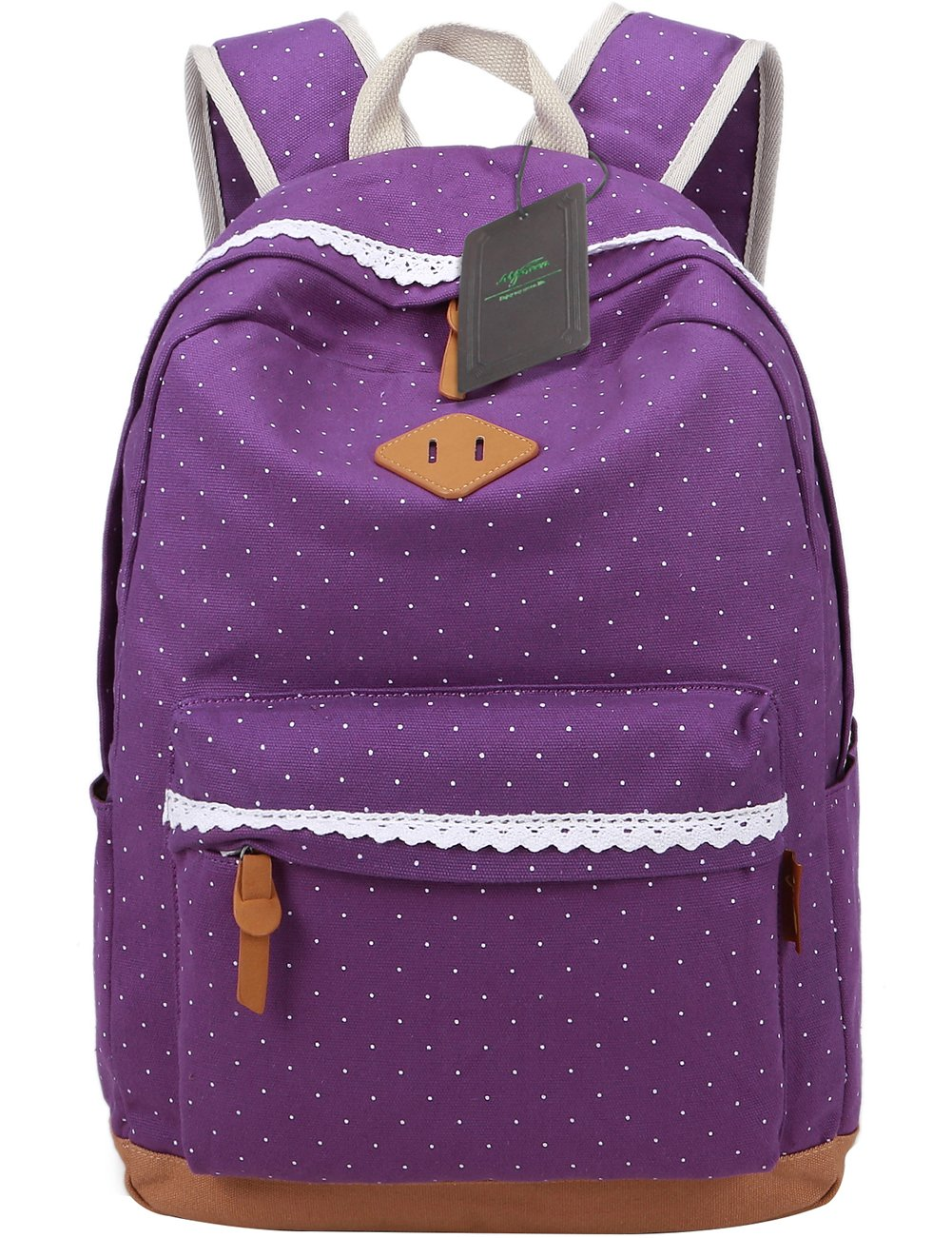 Mygreen Casual Lightweight Print Backpack for Girls and Women School Bags Rucksack Cute Floral Dot Bookbags Purple