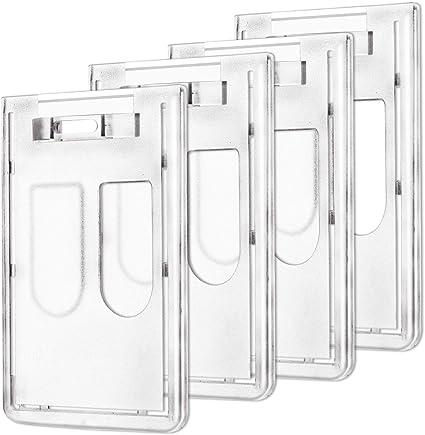 4 pezzi AIEX Porta Badge Rigido Verticale Plastica Badge Holder Portanome Custodia porta-tessere per 2 carte d/'identit/à di credito
