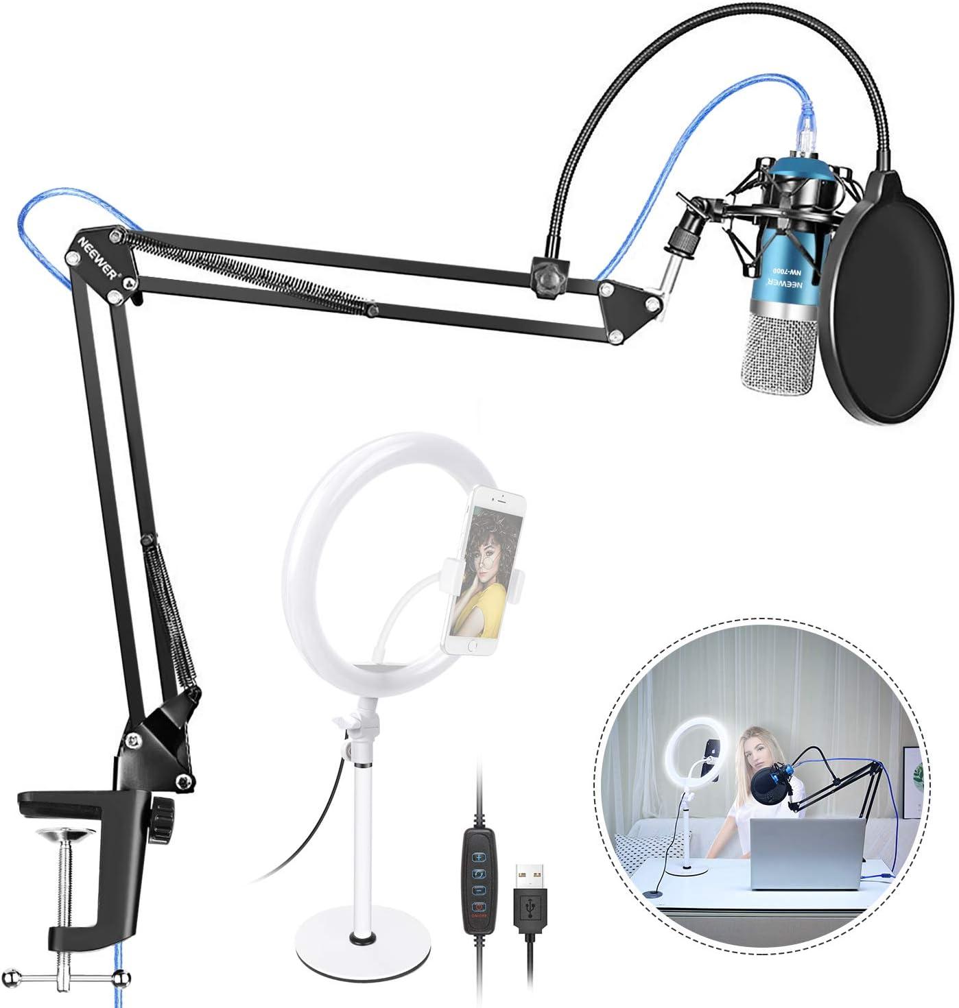 Neewer LED Luz de Anillo Regulable y Kit de Micrófono USB NW-7000 ...