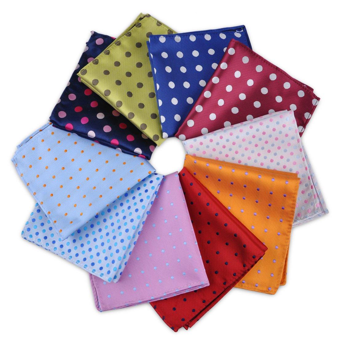 10 pcs 9.8x9.8'' Men's Polka Dot Pocket Square Jacquard Woven Handkerchief Gift ciciTree