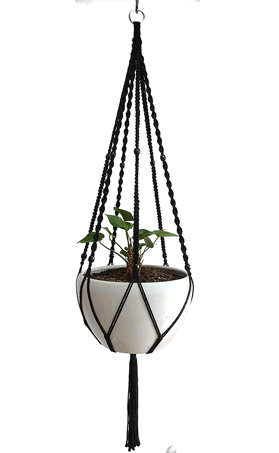 Plant Hanger Macrame Cotton 6 Legs 51 Inches in Tan and Green Color for Indoor Outdoor, Living Room, Kitchen, Deck, Patio, High and Low Ceiling with Size of 10-12 inches Without The Pot Black