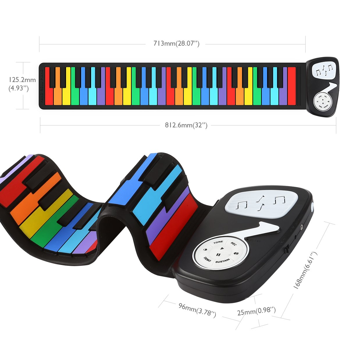 JouerNow Rainbow Roll Up Piano, with Music Scores - Play by Color, 49 Standard Keys with Built-in Speaker, Educational Toy, White by JouerNow (Image #2)