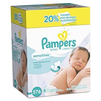 Pampers 88529CT Sensitive Baby Wipes, White, Cotton, Unscented, 64/Pack,