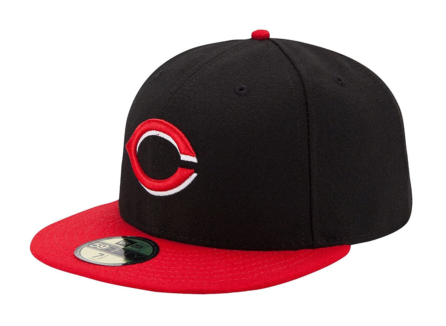 brand new 25c2b 1641e Amazon.com   New Era Cincinnati Reds Black with Red Brim Alternate  Authentic 2012-2013 On-Field 59FIFTY Fitted Hat   Clothing