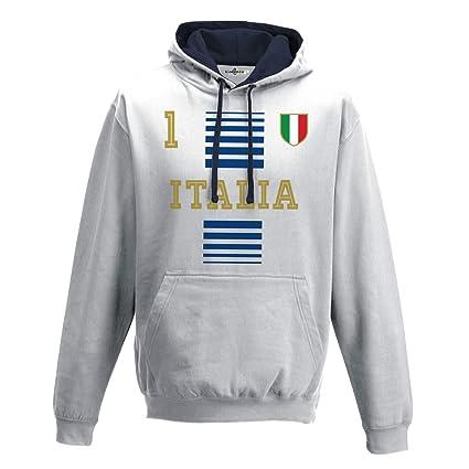 KiarenzaFD Sudadera con Capucha Bicolore Hombre Nacional Deporte Italy Italia 1 Futbol Tricolore2A S