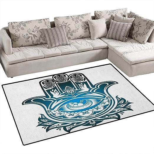 Hamsa, Alfombra de Suelo, Marco de Ornamento Curvado con diseño ...