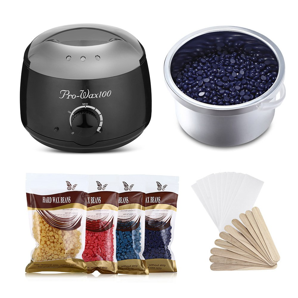 Wax Warmer Hair Removal Kit, SKM 500ML Professional Electric Wax Heater Pot Machine Hair Removal for Hands, Arms, Legs, Body and Bikini Area, with 4 x 100G Flavor Hard Wax Beans and 10 Applicator Sticks