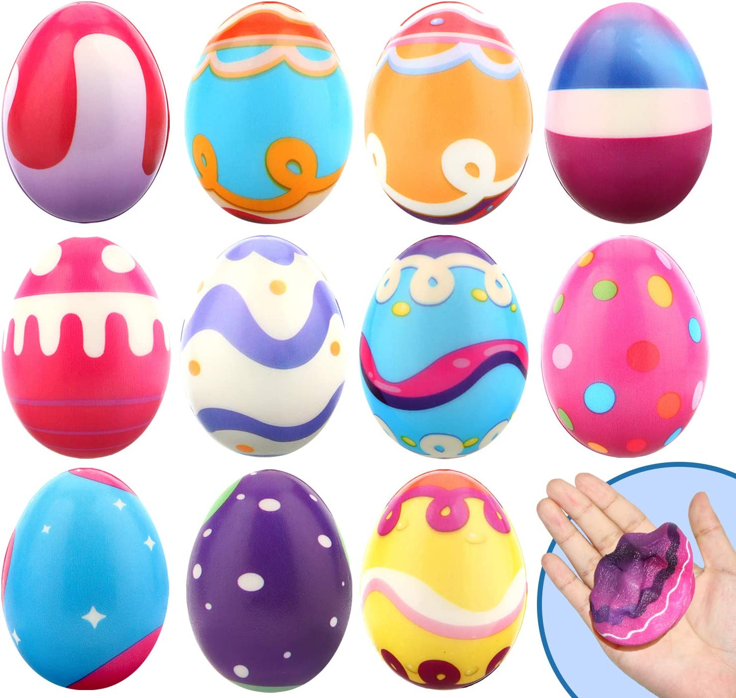 12 Packs Easter Basket Stuffers Squishy Toys, Slow Rising Squishy Easter Eggs, Party Favor Gifts for Easter