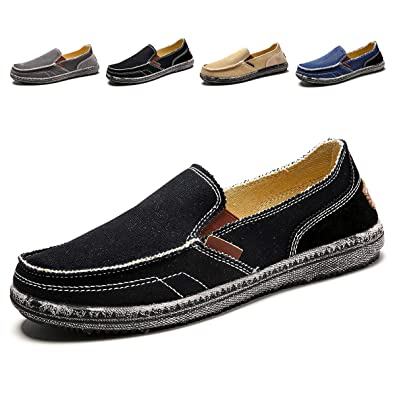 new york look good shoes sale classic fit Men's Casual Canvas Shoes Slip-on Vintage Cloth Sneakers Wide Width Penny  Loafers Outdoor Flat Deck Boat Walking Shoes