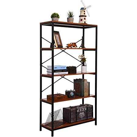 4 Shelf Bookcase, Bookshelf Industrial Style Metal and Wood Bookshelves, Open Wide Home Office Book Shelf