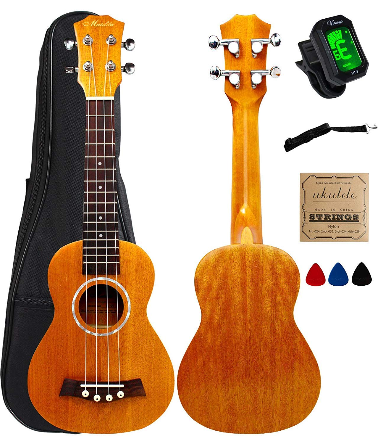 Vizcaya Soprano Ukulele Mahogany 21 inch stain finish with Ukulele Accessories, 5mm Sponge Padding Gig Bag, Strap, Nylon String, Electric Tuner, Picks