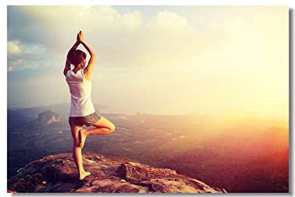 1x Poster Yoga Poses and Spirituality Exercise Meditating Women for SPA Bodybuilding Studio Home Room Hotel Office Wall Deco Prints 47x31.5 (120x80cm) ...