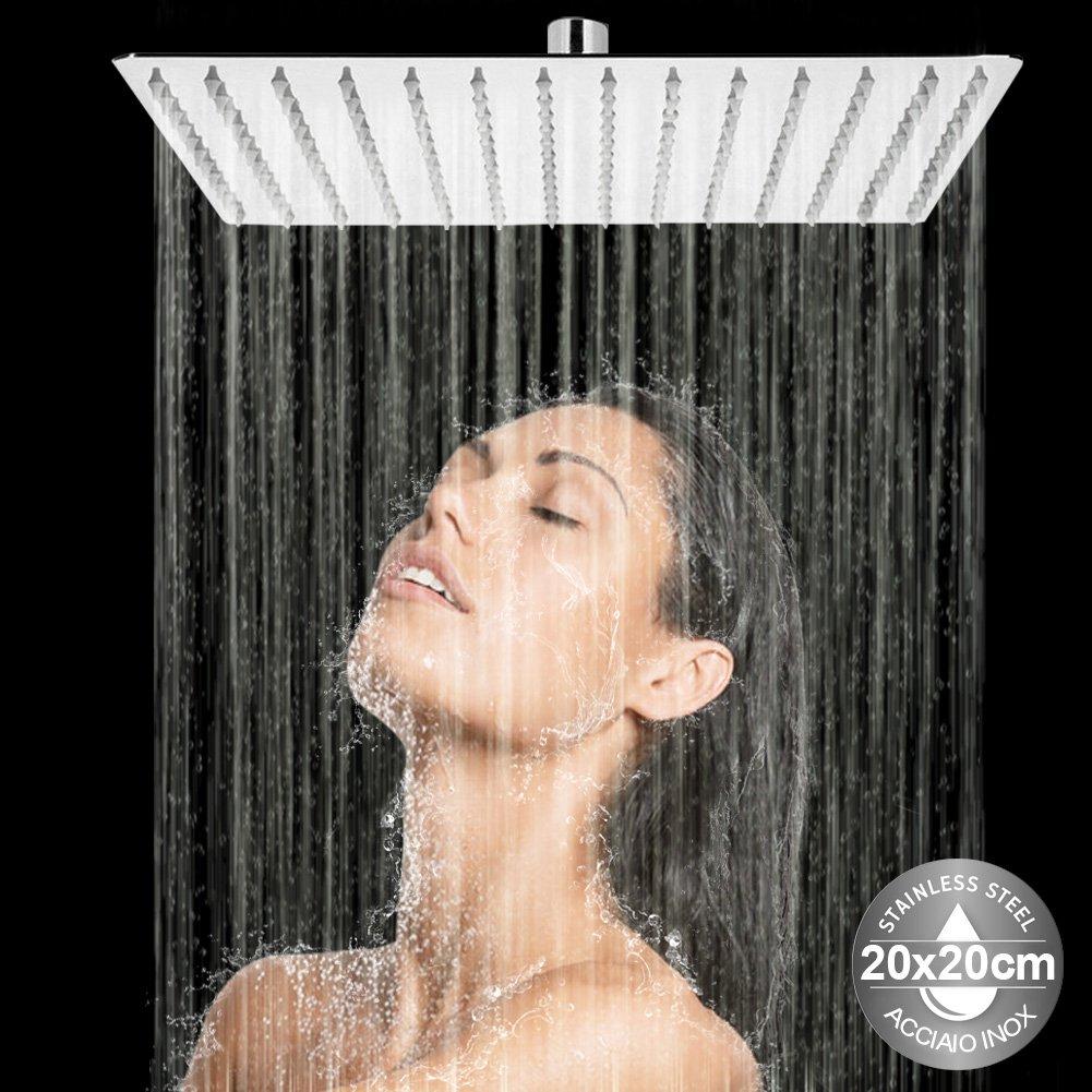 Bakaji Soffione Doccia Bagno Quadrato in Acciaio Inox Ultra Sottile con Ugelli in Silicone da 5mm Snodo a Sfera e Getto Effetto Pioggia Colore Silver 20 x 20 cm