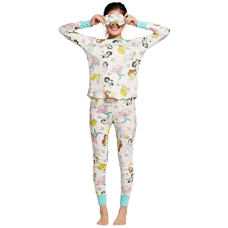 Disney Princesses Women's Junior Waffle Weave Thermal Pajamas Set 3-Piece Set With Eye Mask (Small)