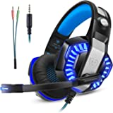 Micolindun Casque Gaming Gamer PC PS4 avec Micro, Audio avec Basses, Anti-Bruit, LED, Compatible pour Xbox One Laptop Mac Phone, Adaptateur Inclus