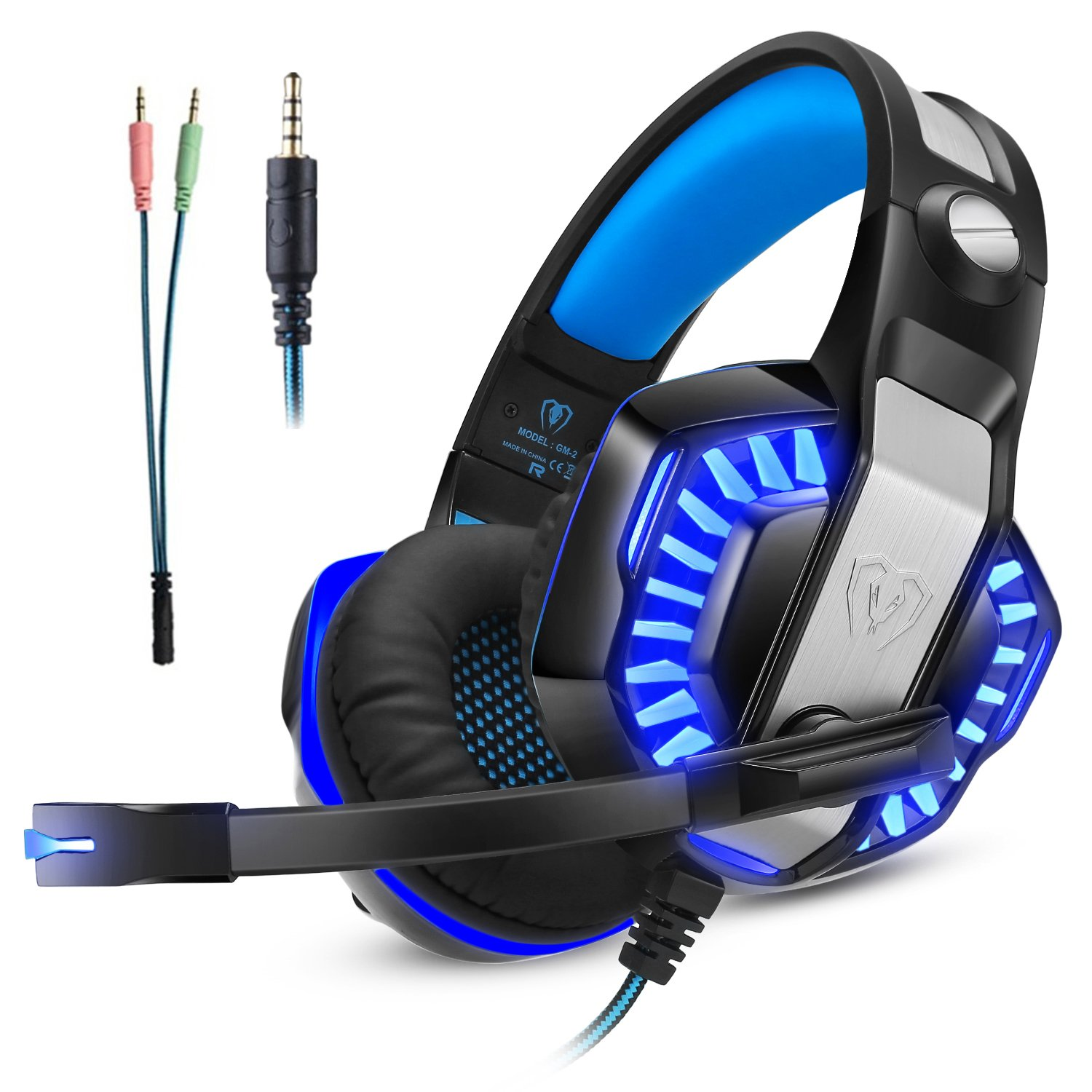 Gaming Headset Xbox One Ps4, Gamer Headphone Mic, Over Ear Bass Stereo, Noise Reduction Microphone, LED Light Volume Control PC, Nintendo Switch/3DS, Laptop, Mac, Pad, Smartphone