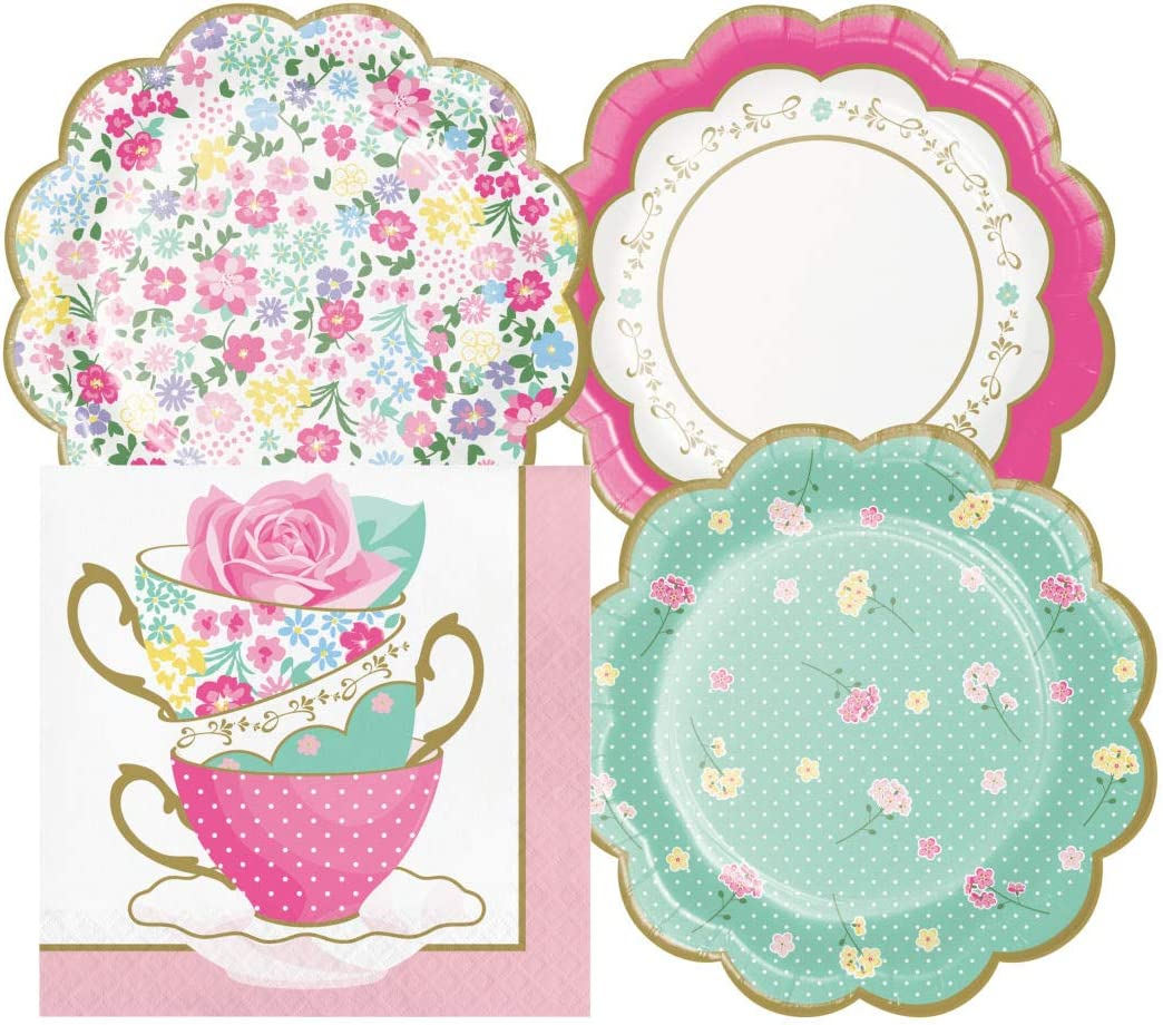Floral Themed Tea Party Supply Pack Bundle Includes Paper Dessert Plates & Napkins for 16 Guests
