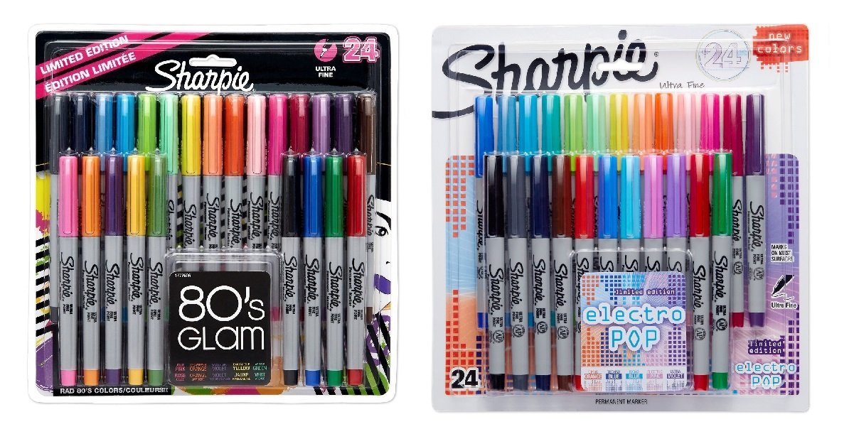 Sharpie 80s Glam Fine Point Limited Edition Permanent Markers - 24 Pack -  Multi-Color