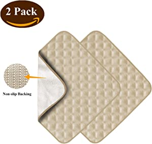 """NewBeau 2 Pack Ultra Absorbent Washable Waterproof Seat Protector Pads for Incontinence, Four Layers Chair Cover Protector, Reusable Under Pads Protection for Men and Women, Children 22""""X21"""""""