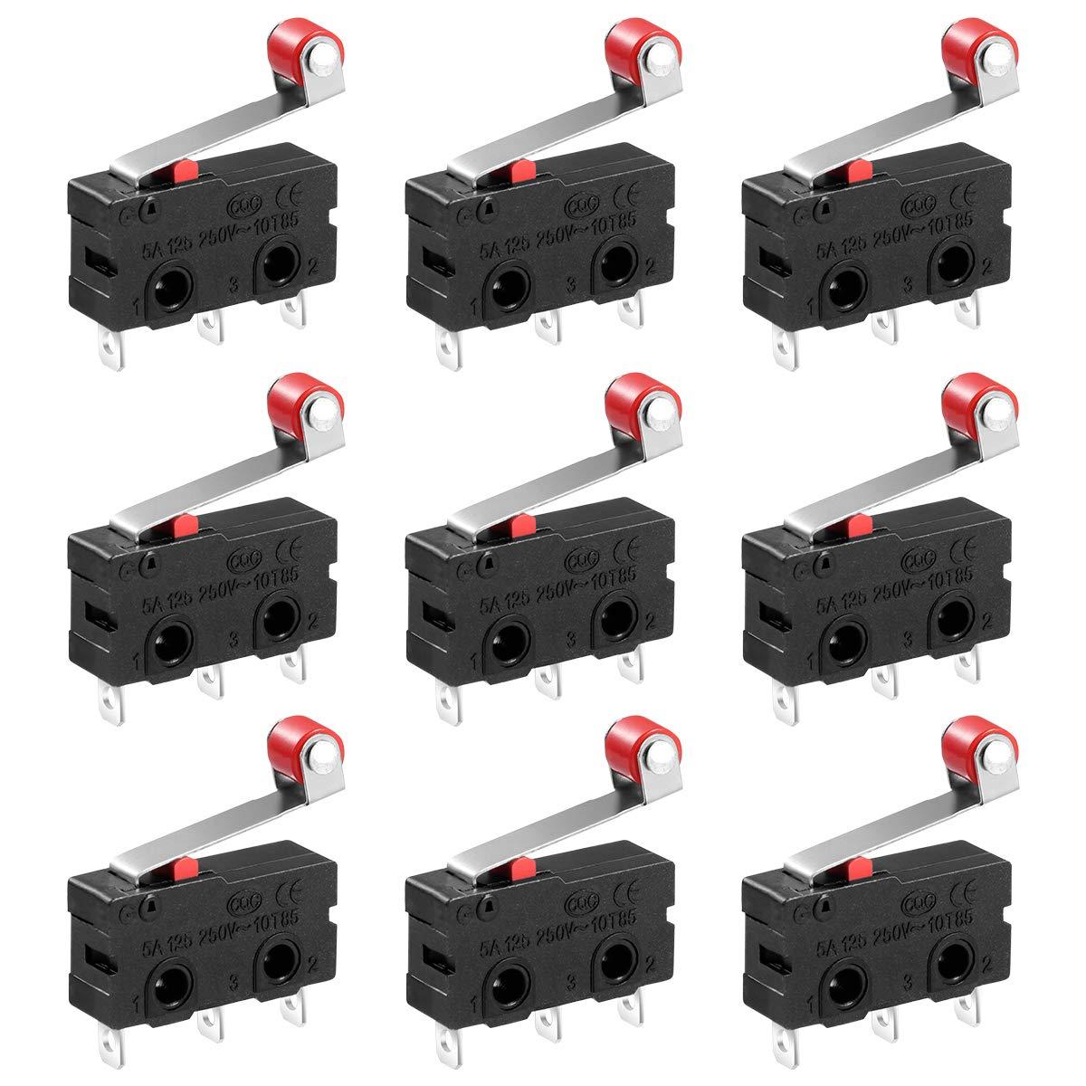 10x Microrupteurs /à Galet 125V /à 250V 5A SPDT Charni/ère momentan/ée 3 Broches Levier Bras Ouvert Fermer Interrupteur de Fin de Course
