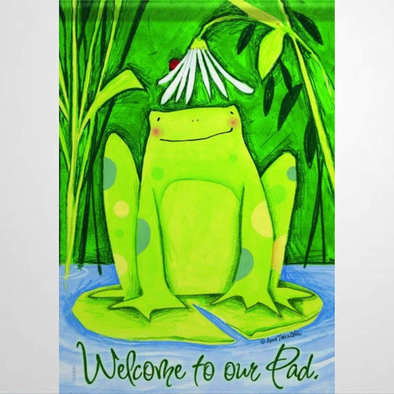 BYRON HOYLE Daisy Frog Garden Flag Decorative Holiday Seasonal Outdoor Weather Resistant Double Sided Print Farmhouse Flag Yard Patio Lawn Garden Decoration 12 x 18 Inch294973