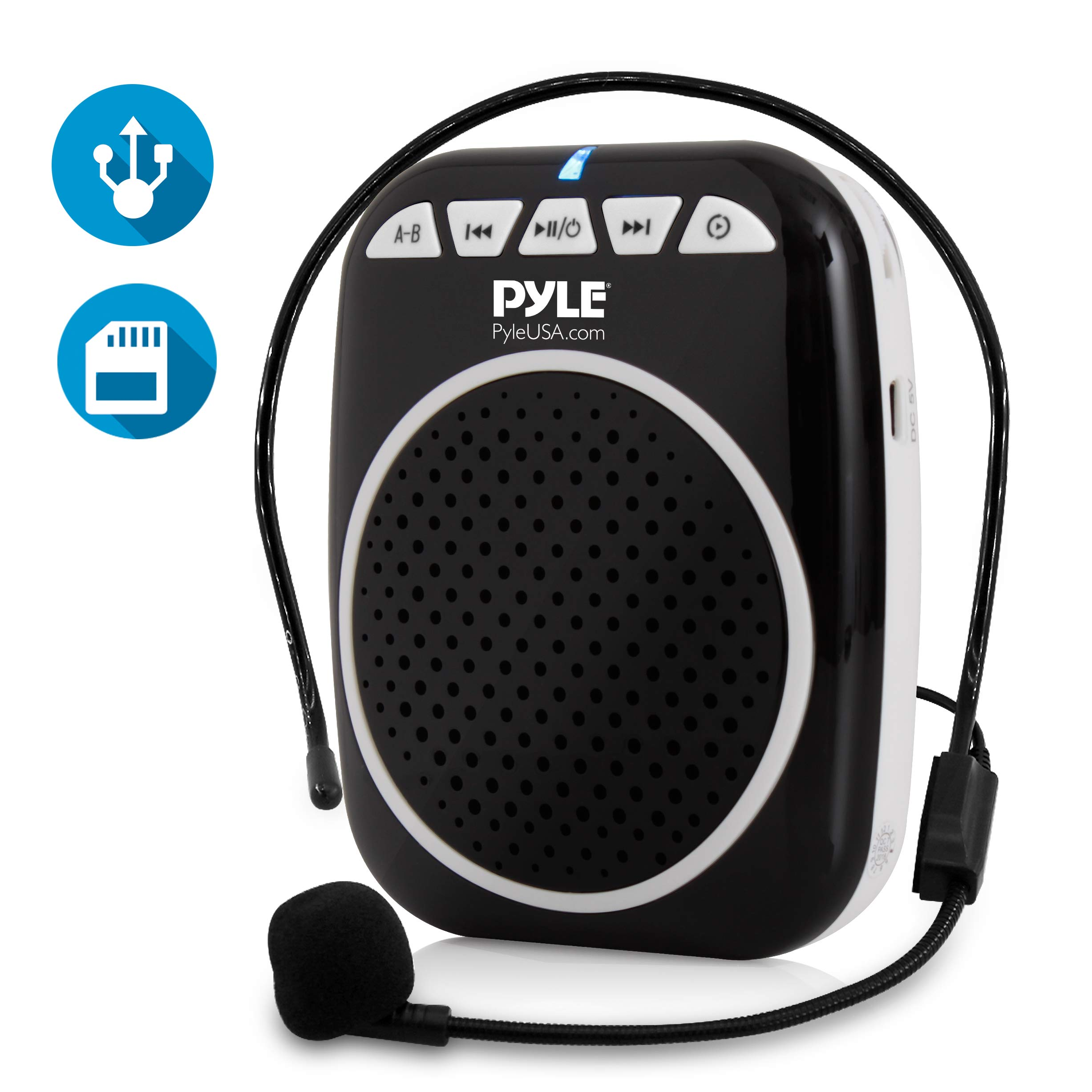 Pyle Compact Voice Amplifier - Portable Waistband PA Speaker with Headset Microphone, Rechargeable Battery, MP3/USB/SD Readers (PWMA55)