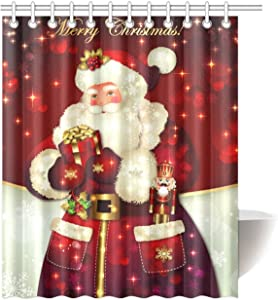"""Unique Custom Merry Christmas Dreamlike The Santa Claus Waterproof Fabric Polyester Shower Curtain Bathroom Decor 36"""" x 72"""" Small Stall Size"""