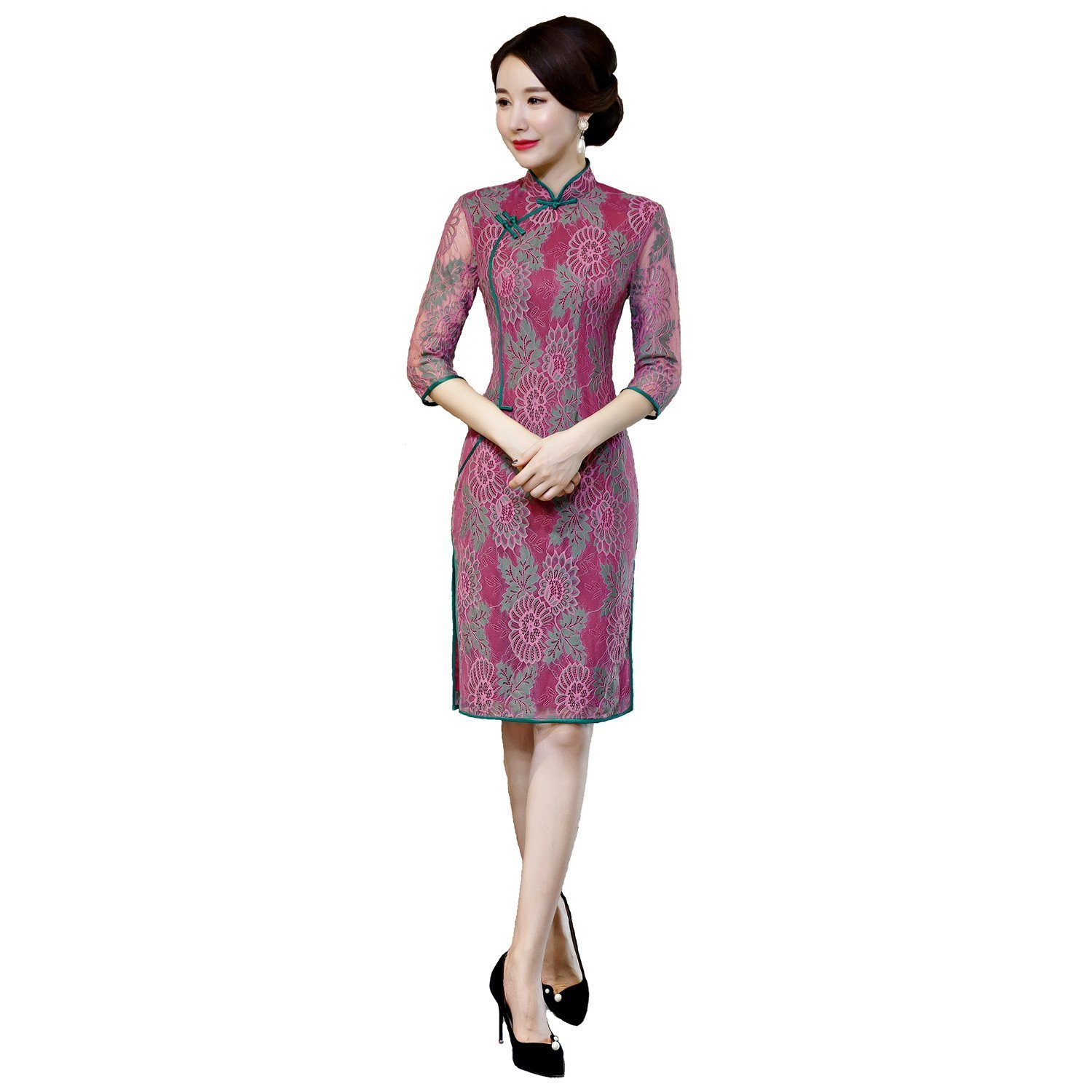 b9260a3dd85 Shanghai Story Half Sleeve Knee Length Chinese Cheongsam Dress Lace Qipao  FMS2016720168
