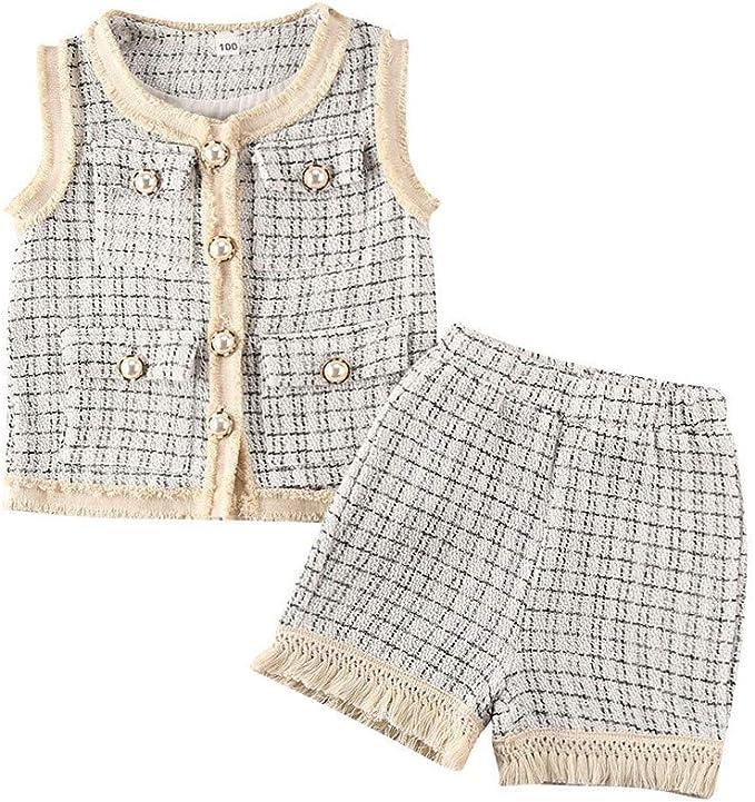 Amazon.com: Conjunto de falda a cuadros para bebé de manga ...