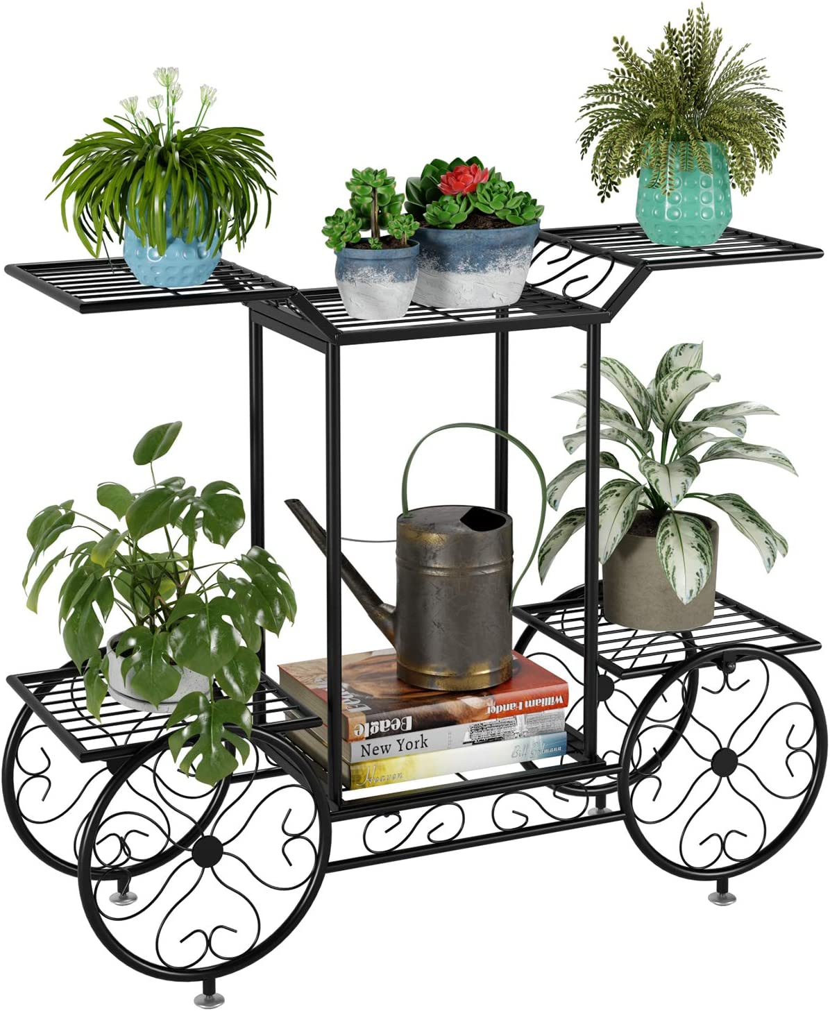 Movable Flower Pot Pallet with Four Wheels Metal Plant Stand On Roller Patio Flower Pot Rack Plant Holder with Lockable Omnidirectional Wheels Indoor Outdoor Black