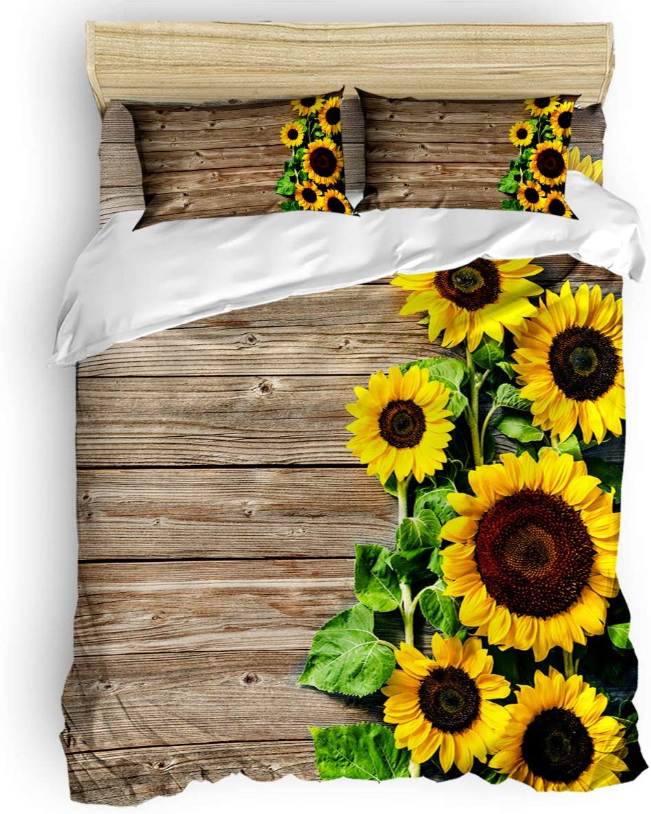 Chic Decor Home 3 Piece Bedding Sets Queen Size - Distressed Rustic Wood Sunflowers Duvet Quilt Cover Set for Childrens/Kids/Teens/Adults, 1 Quilt Cover with 2 Pillow Case, Floral