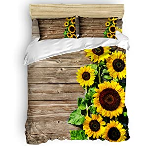 Chic Decor Home 3 Piece Bedding Sets California King - Distressed Rustic Wood Sunflowers Duvet Quilt Cover Set for Childrens/Kids/Teens/Adults, 1 Quilt Cover with 2 Pillow Case, Floral