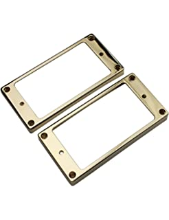 GUYKER Electric Guitar Neck and Bridge Metal Curved Humbucker Pickup Frame Mounting Rings Set for Gibson