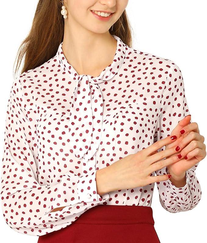 Allegra K Blusa Vintage De Lunares con Botones Camisa Corbata Mangas Largas para Mujeres: Amazon.es: Ropa y accesorios