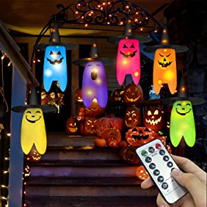 Youlisn Halloween Decoration Outdoor 6pcs Hanging Lighted Ghost Witch Hat LED String Decor with Remote Controller and 8 Lighting Mode