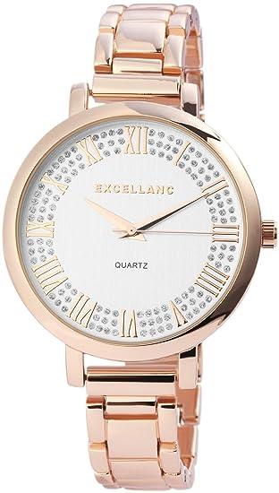 Reloj Mujer Color Blanco Rosado. Oro Colores Analog Brillantes Metal Reloj de Pulsera