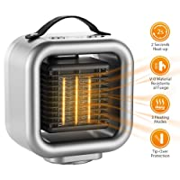 COMLIFE PTC Ceramic Heater, Electric Mini Personal Heater Fan with Hot & Natural Wind, Tip-Over and Overheat Protection, Perfect for Office and Home Use(500-1200W)