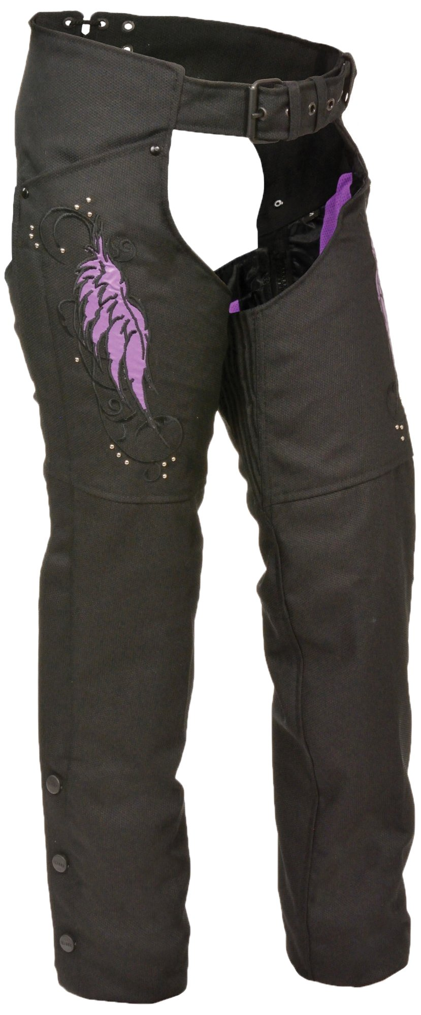 Milwaukee Performance Women's Doublon Chaps with Wings (Black/Purple, XXX-Large)
